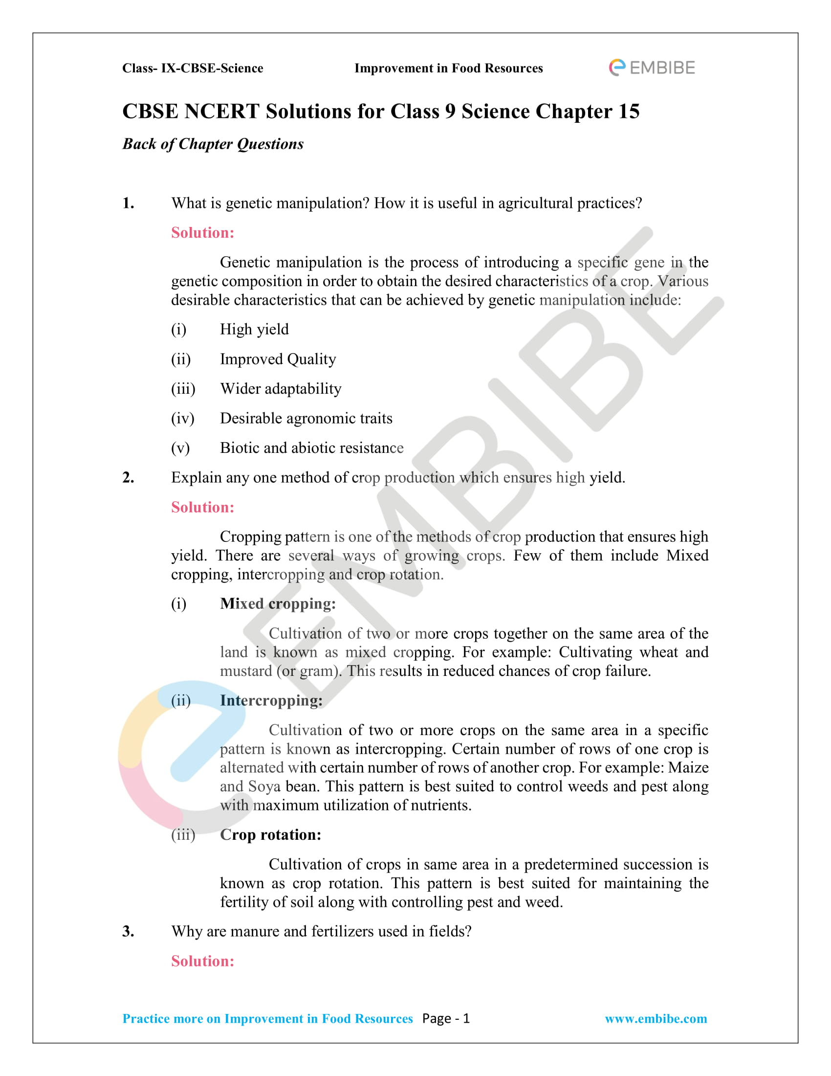 Cbse Ncert Solutions For Class 9 Science Chapter 15