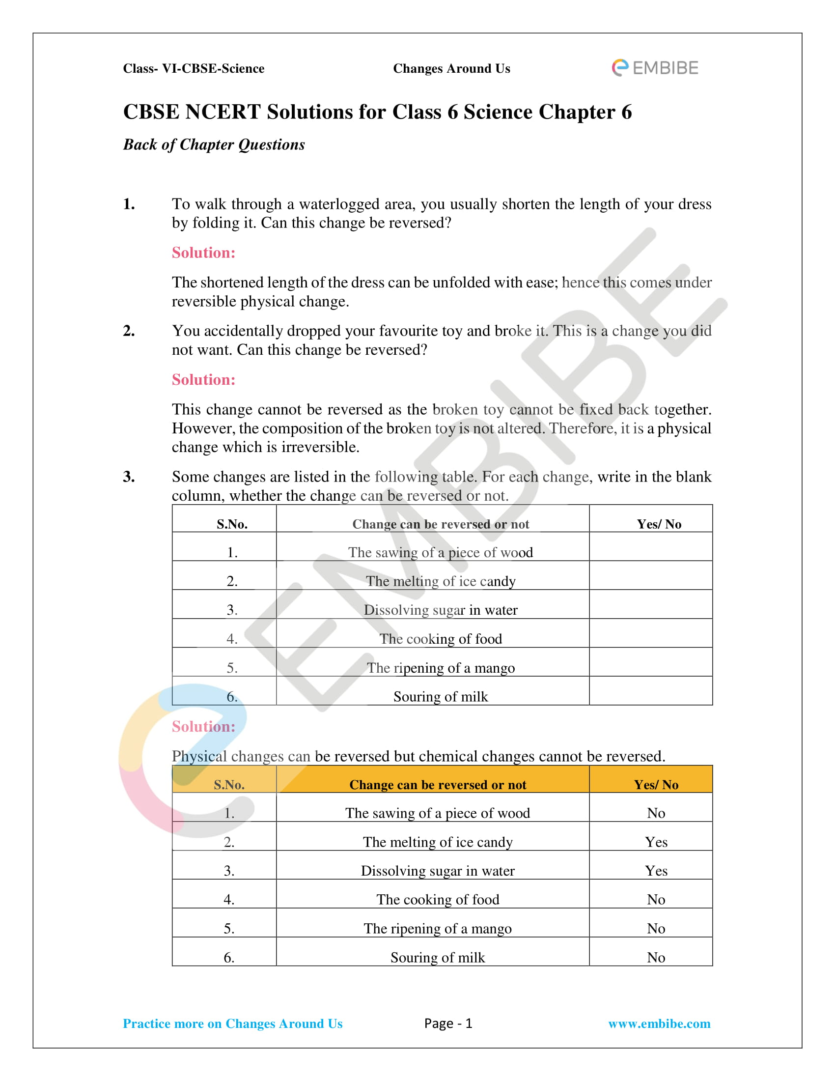 Ncert Solutions For Class 6 Science Chapter 6 Changes