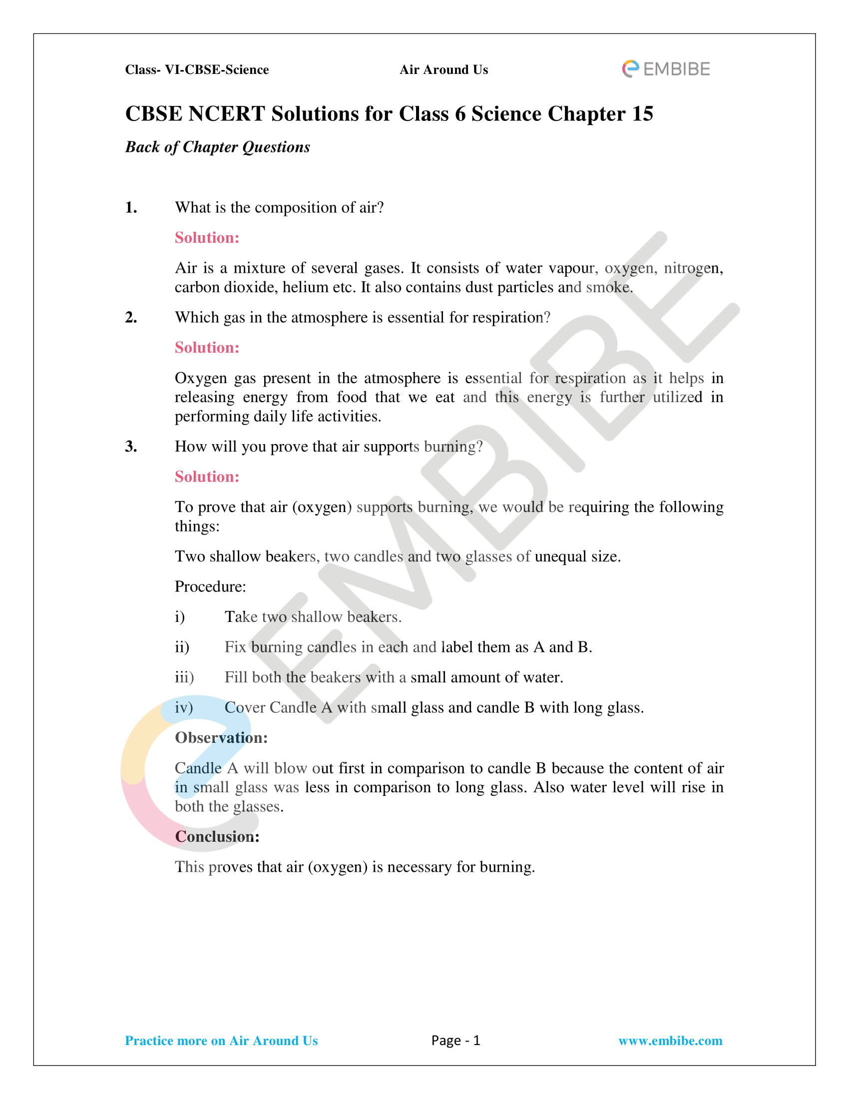 Class 6 Science Chapter 1 Worksheet