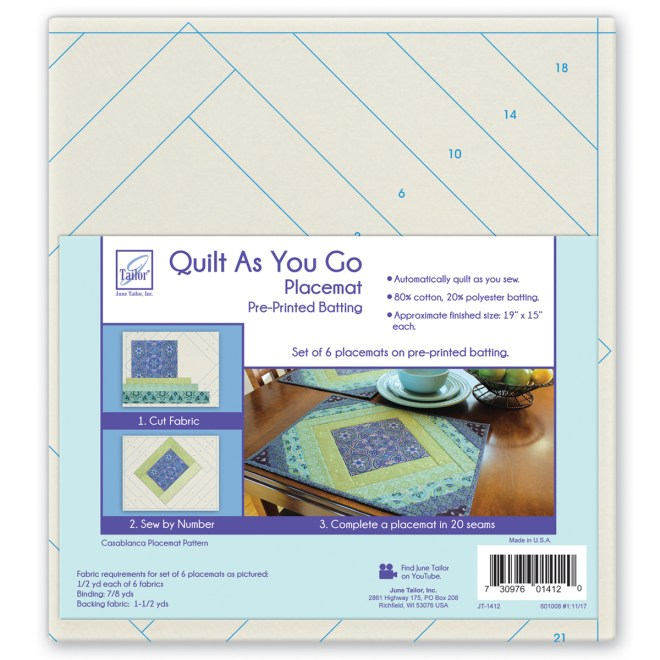 June Tailor Quilt As You Go Placemats Patterns Casablanca 6 Pcs