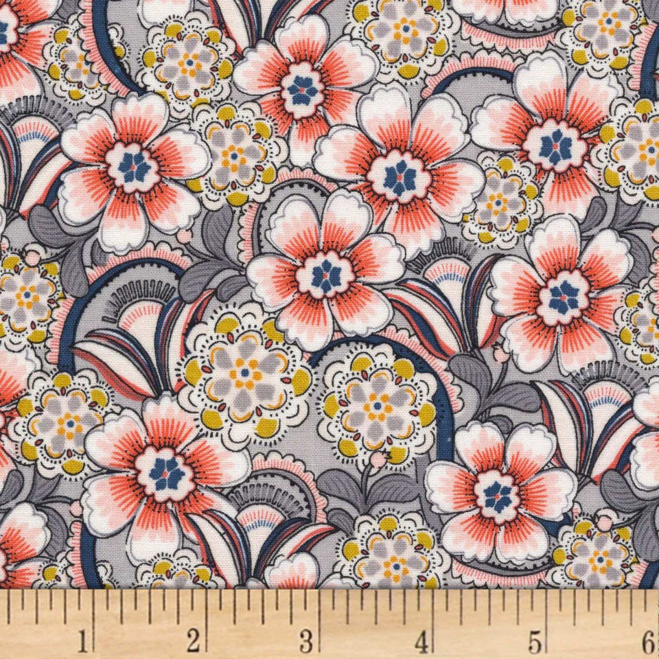 Michael Miller Daisy Paisley Lacey Daisy Floral Coral Fabric