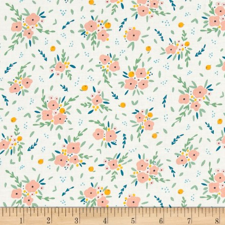 Dear Stella Fresh Dew Blooming Bouquet White Fabric
