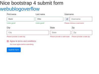 Bootstrap And Jquery Form Code Snippets