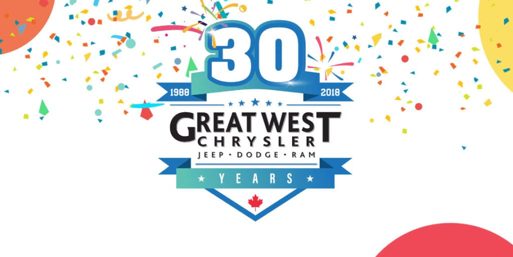 Great West Chrysler 30th anniversary banner with confetti and balloons bursting in the background