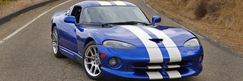 Viper GTS on the middle line of a road