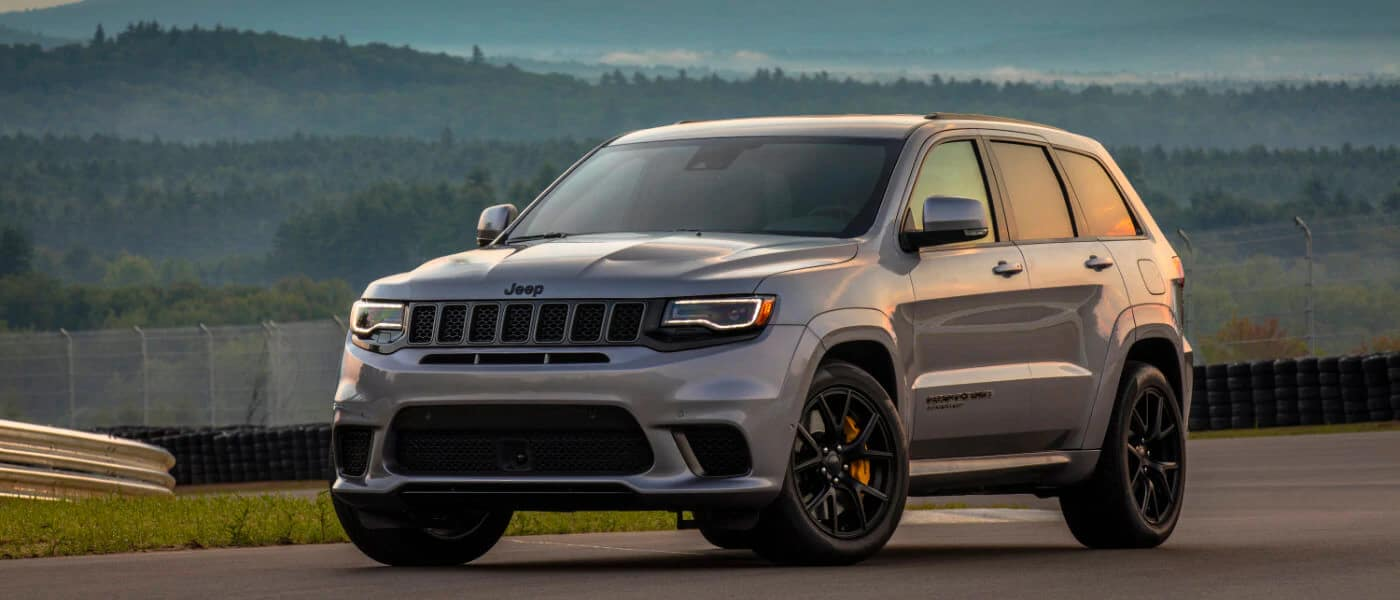 2020 Jeep Grand Cherokee In Grey Parked On Race Test Track