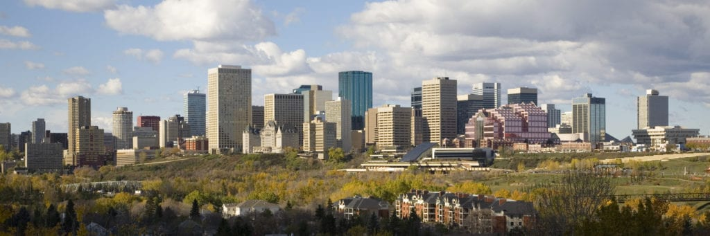 The skyline of Edmonton, Alberta, Canada.