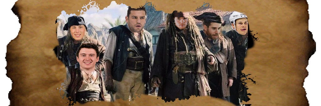 scene from Pirates of the Caribbean with several oilers players faces superimposed overtop