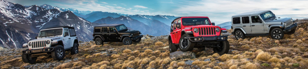 Rugged and adventurous Jeep Wranglers sit parked on a mountaintop they have conquered
