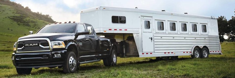 Ram 3500 towing a rear trailer