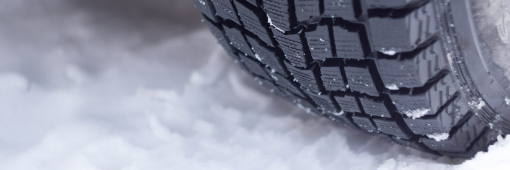 Winter tire on fresh snow