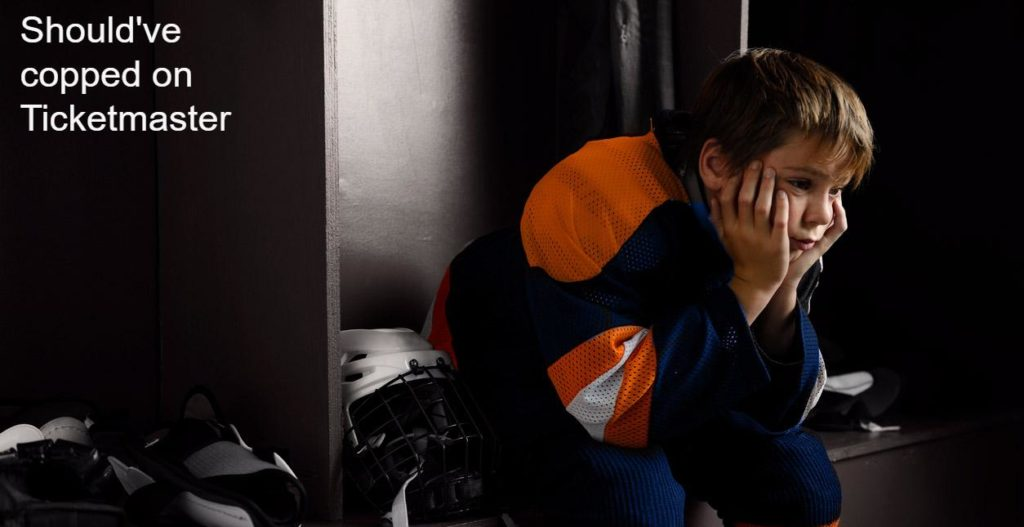 """Portrait of a male youth hockey player sitting in the dressing room tired, after the hockey game in an Oilers Jersey. and a graphic saying 'Should've copped on Ticketmaster'."