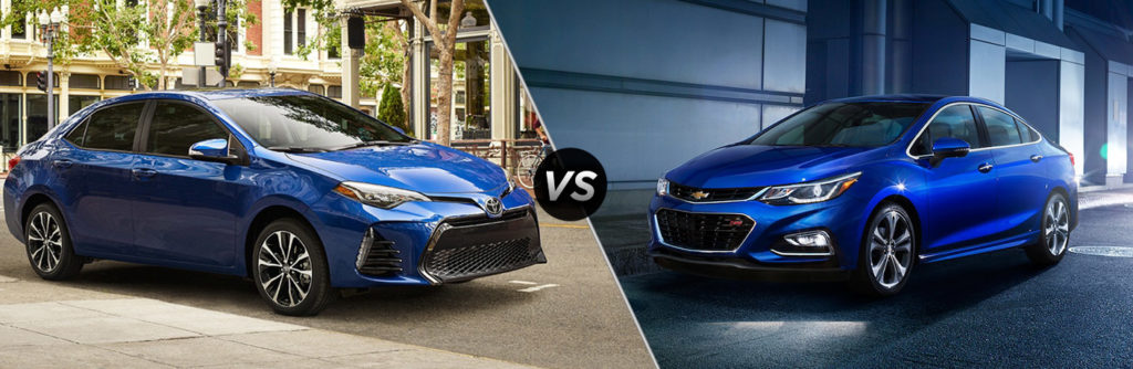 2018 Toyota Corolla Exterior Passenger Side Front vs 2018 Chevy Cruze Exterior Driver Side Front