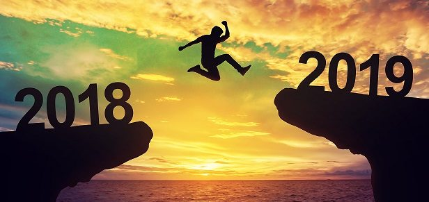 A man jump between 2018 and 2019 years.