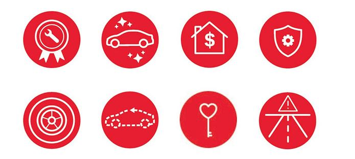 Honda Warranty, red circles with different partt and warranties that Honda offers