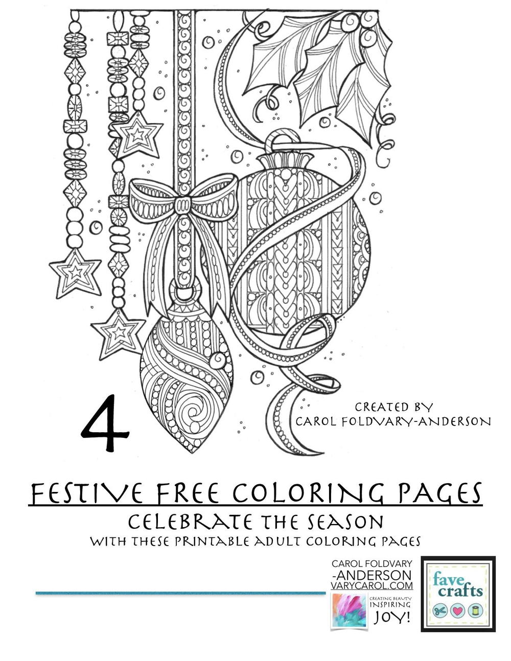 4 Festive Free Holiday Coloring Pages For Adults Pdf