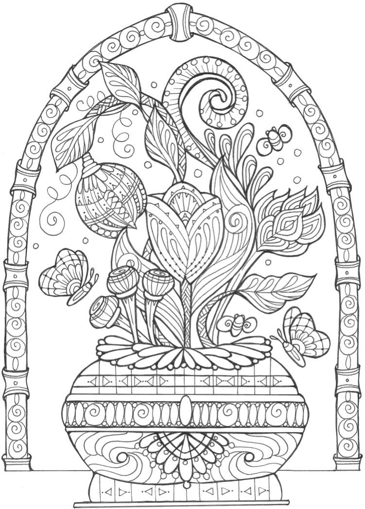Vase of Flowers Adult Coloring Page | FaveCrafts.com | free printable coloring pages for adults only flowers