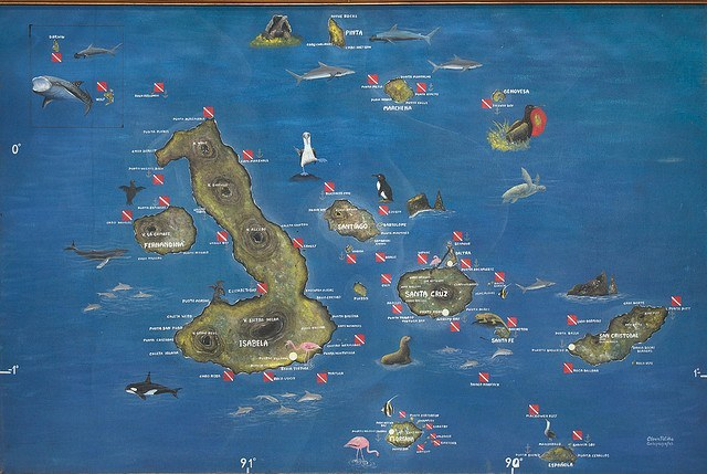 Carte Archipel Galapagos  Crédit photo à : A.Davey  httpswww.flickr.comphotosadavey