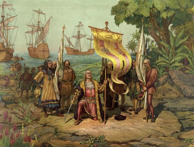 Christophe Colombe arrive en Amérique