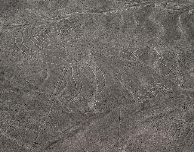 Géoglyphe Singe dans le désert de Nazca