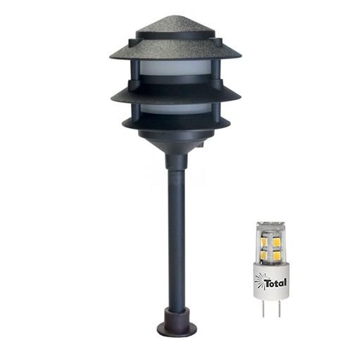 led outdoor landscape lighting black 3 tier pagoda path light warm white low voltage