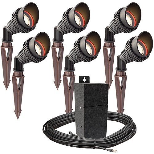 outdoor pro led landscape lighting 6 spot light kit emcod 100watt power pack photocell mechanical timer 80 foot cable