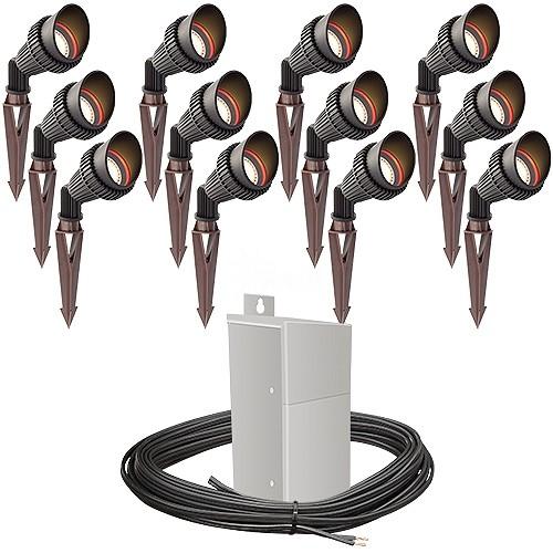 outdoor pro led landscape lighting 12 spot light kit emcod 100watt power pack photocell mechanical timer 160 foot cable