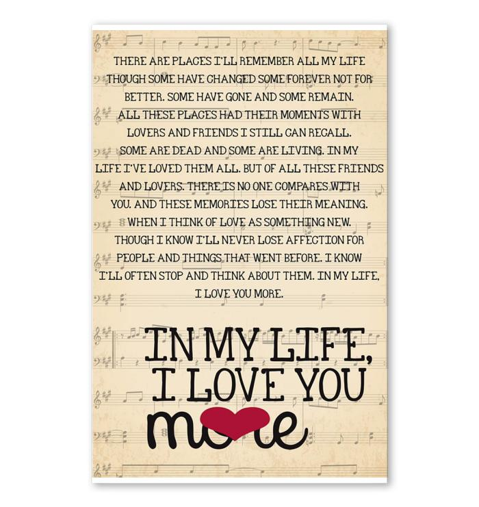 life i love you more lyric poster