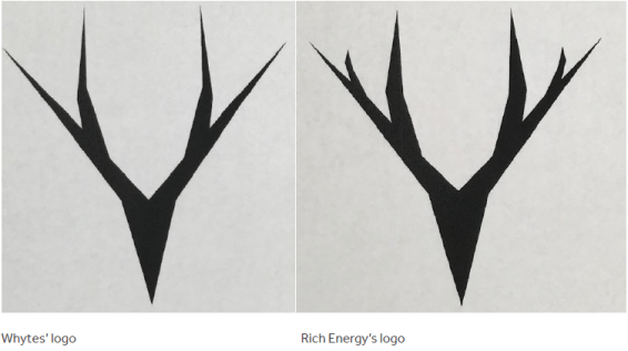 IP Top 10: May - Image comparing Whytes' Logo and Rich Energy's Logo. They are very similar.