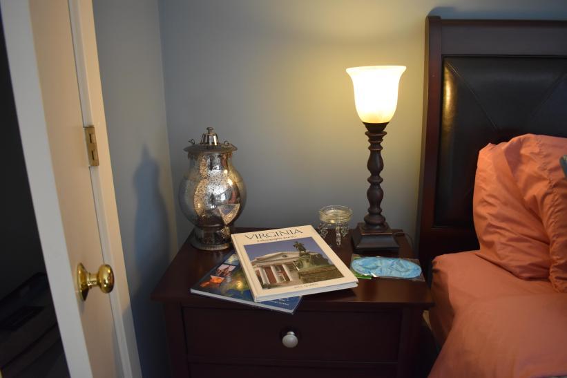 King Bedroom. closet, full bath - shower tub, balcony, sliding glass doors, tv, art