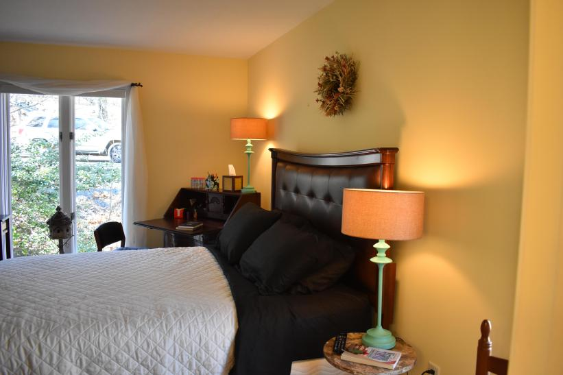 Another view of Main Floor Bedroom with desk in corner, push button light weight blinds