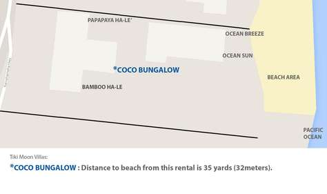 Google map of Tiki Moon Villas property with Coco Bungalow highlighted