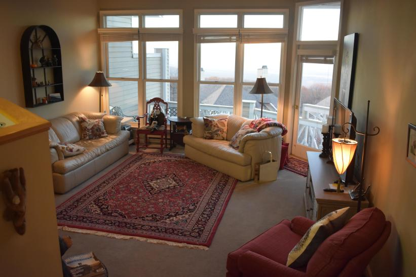 Living Room with Wood burning fireplace, pull out sofa, and quite a view