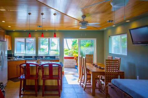 Open floor plan living and kitchen area of Bamboo Hale'