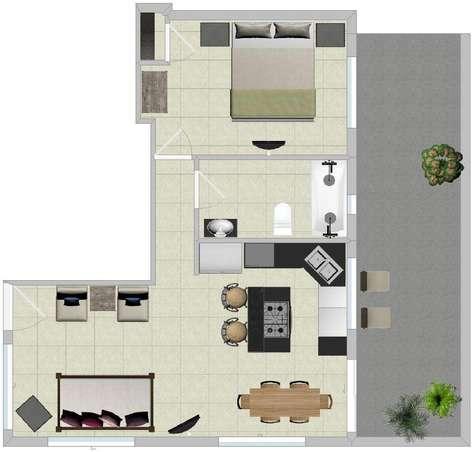 Floor plan of Bamboo 1 bedroom home