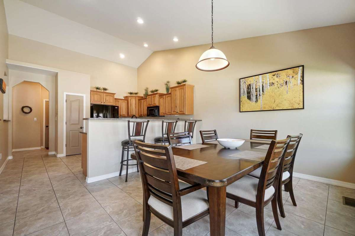 Kitchen offers vaulted ceilings with lots of room