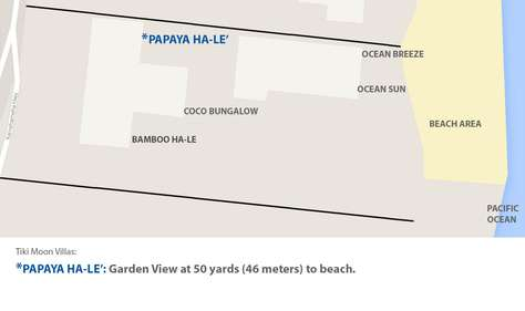 Proximity of Beach to Papaya Hale' within the garden of Tiki Moon Villas