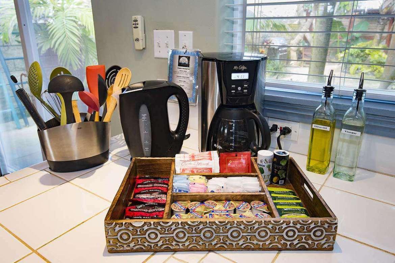 Electric kettle (hot pot), coffee maker, coffee & tea.