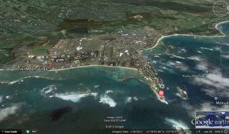 Google map view of Tiki Moon Villas on the ocean