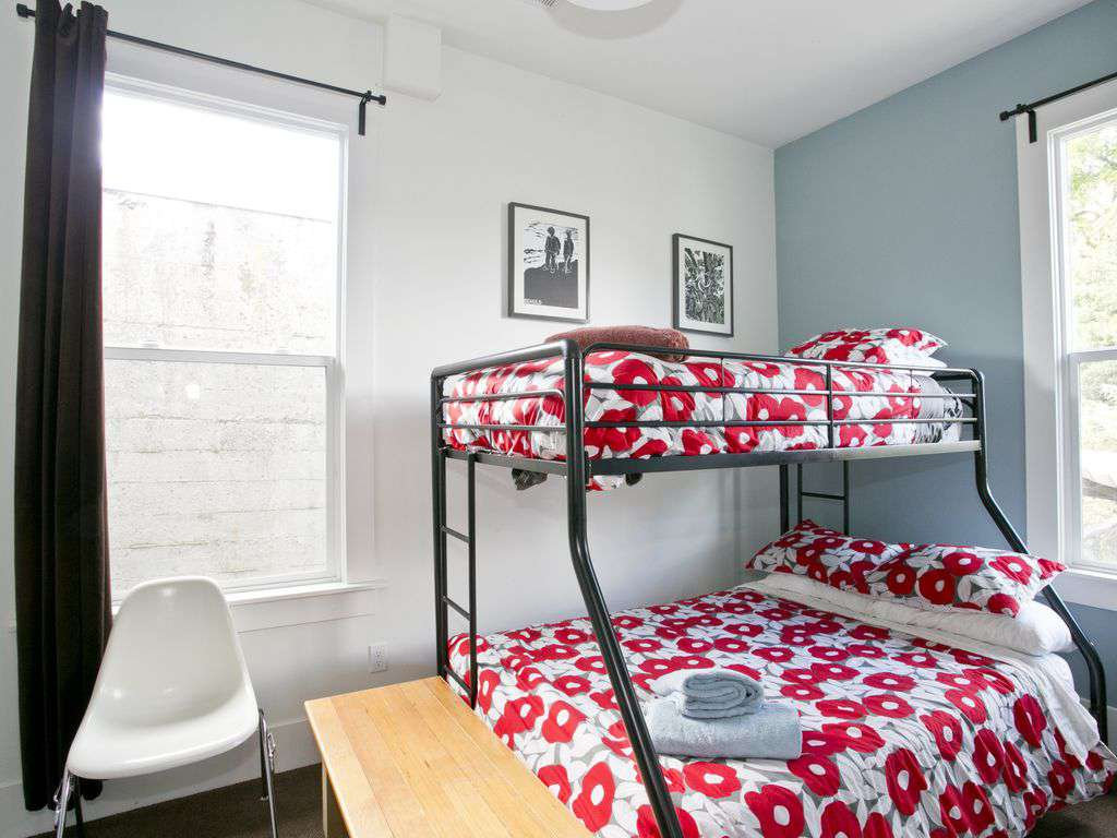 A double down twin up bed makes this fun room a great spot for children!