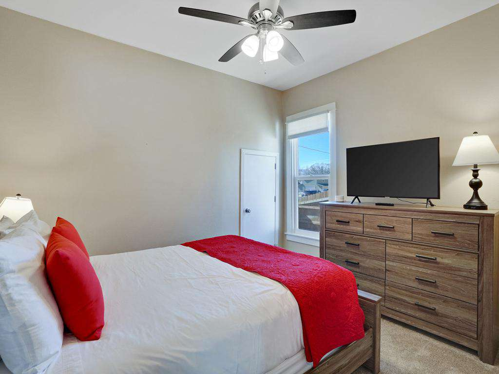 Queen bedroom; relax and watch some Cable in your room.