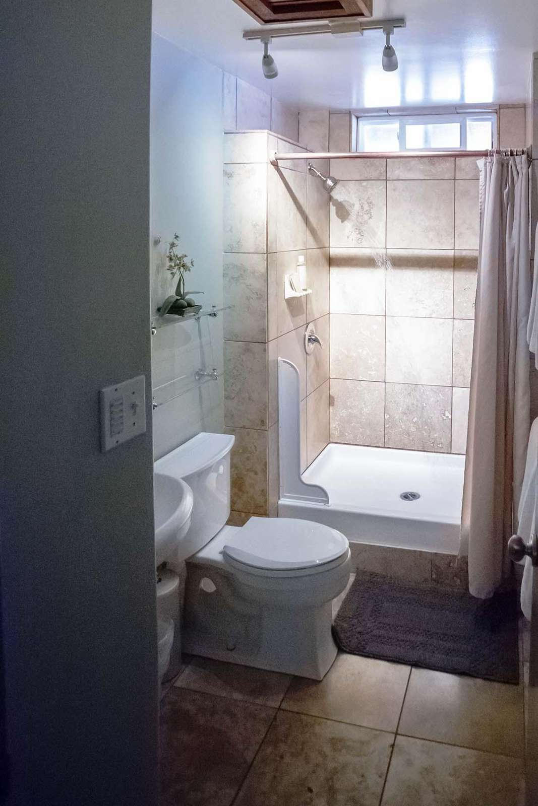 PAPAYA Bathroom with walk in shower.