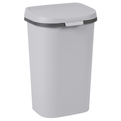 poubelle curver mistral flat 50l pvc recycle gris clair