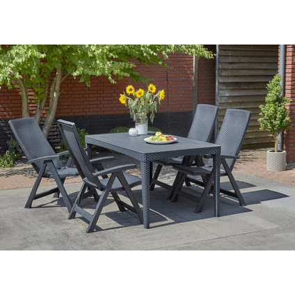 allibert table de jardin girona wicker graphite 160x90cm