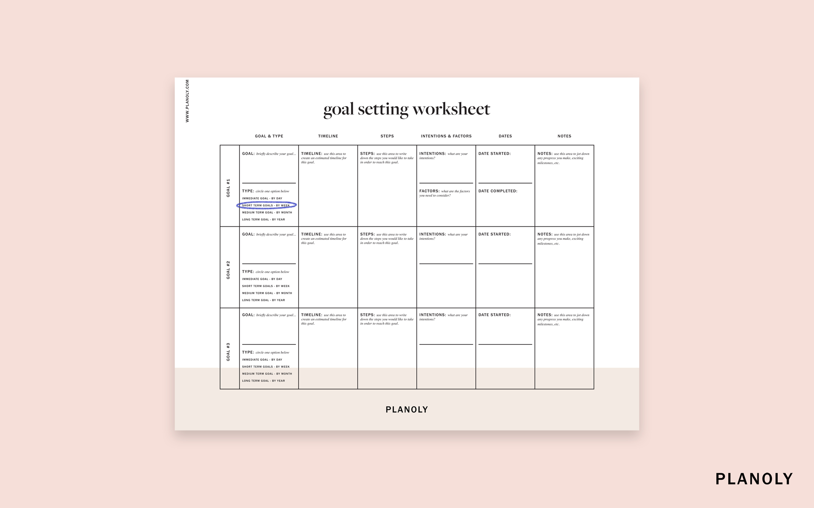 Planoly S Influencer Goal Setting Worksheet