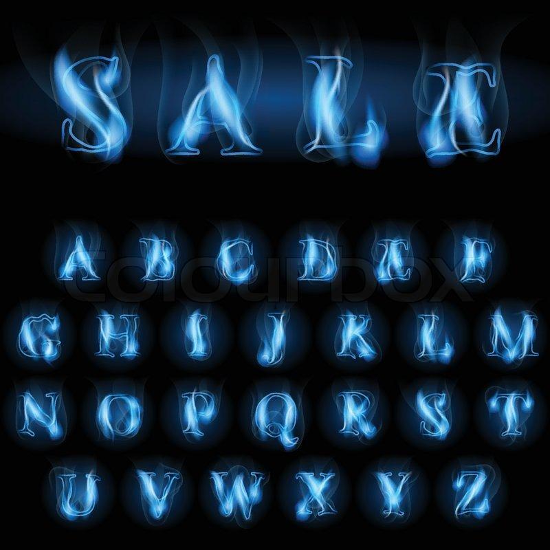 Sale Blue Fire Latin Alphabet Letters Stock Vector