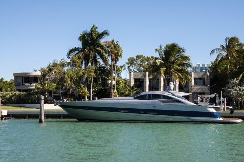 Luxury Motor Yacht On Star Island In Stock Photo