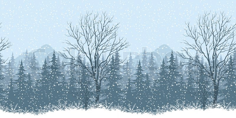 Seamless Horizontal Winter Mountain Landscape With Trees