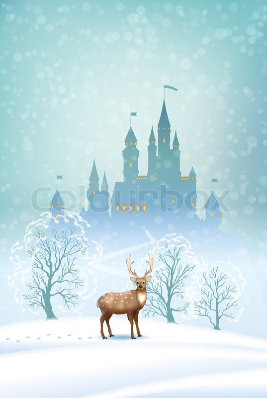 Christmas Winter Vector Landscape With Stock Vector