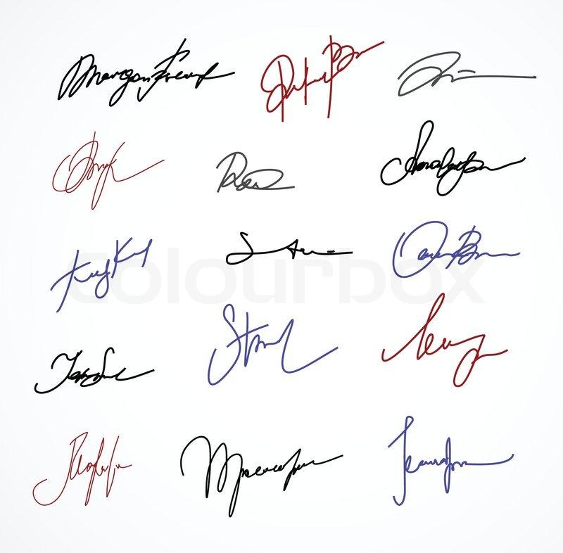 Vector Color Signature Fictitious Stock Vector